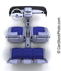 contemporary interior - 3D render of a contemporary car...