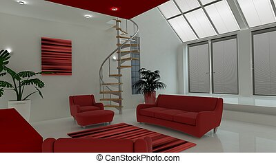 Contemporary interior living space - 3D render of a...