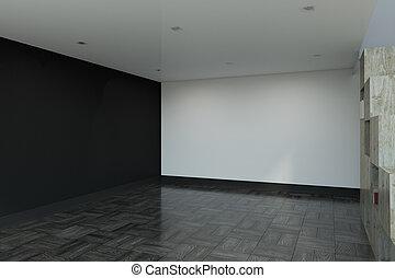 Contemporary interior with copy space