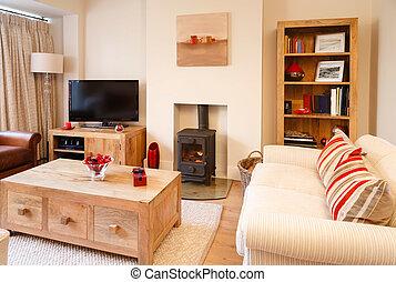 Contemporary interiors - Contemporary living room with...