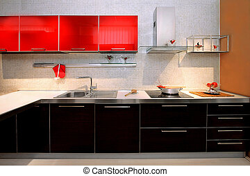 Contemporary kitchen counter - Interior of red kitchen with ...