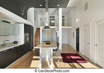 Contemporary kitchen in condo