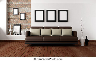 contemporary living room - brown sofa with pillow in front a...