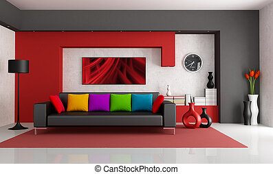Contemporary Living Room - Red white and black modern living...
