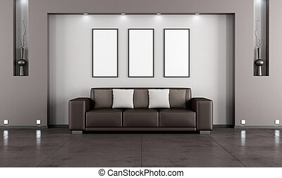 Contemporary living room with sofa and niche - rendering