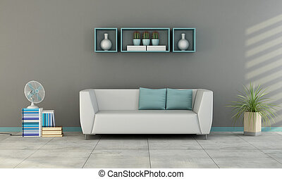 Contemporary living room with white sofa with blue cushion...