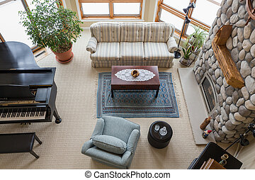 Contemporary Living Room Viewed from Above