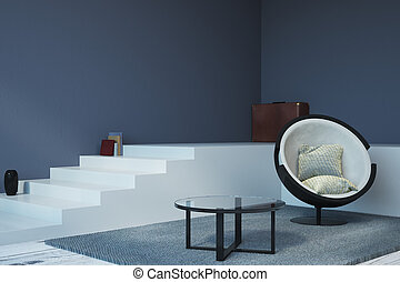 Contemporary living room with copyspace