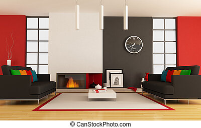 Contemporary living room with fireplace - modern lounge with...