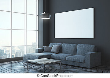 Contemporary living room with poster