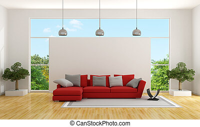 Contemporary living room with red couch and large window