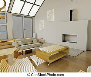 3D render of a contemporary lounge