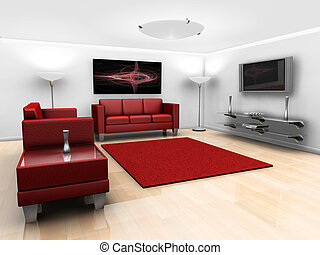 Contemporary lounge - 3D render of a contemporary styled...