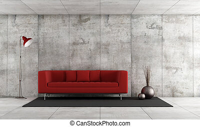 Contemporary lounge - Red modern sofa in a concrete room -...