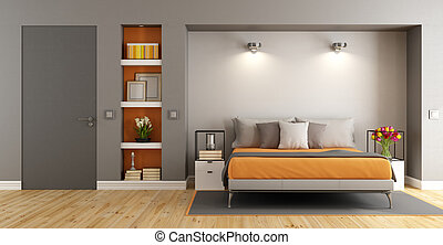 Contemporary master bedroom with bed, niche and closed door - 3d rendering