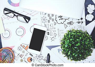 Contemporary messy desk