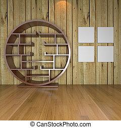 Contemporary minimalist empty living room
