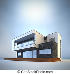 Contemporary minimalist house. - 3d render illustration of...