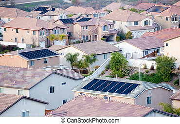 Contemporary Neighborhood Roof Tops with Solar Panels -...