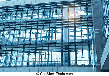 Contemporary office building blue glass wall detail