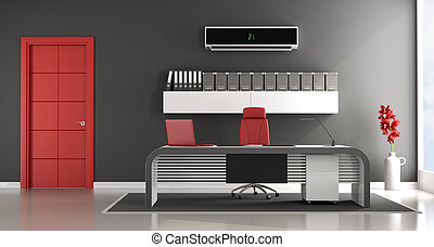 Contemporary office space - Black and red contemporary...