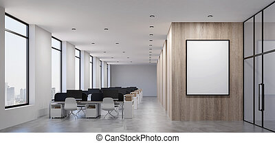 Contemporary office with  blank billboard on wooden wall.