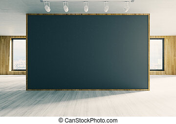 Contemporary office with empty chalkboard