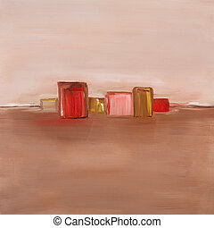 Contemporary oil painting of an abstract landscape in red...