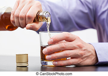 Contemporary problems - alcoholism - Businessman hands...