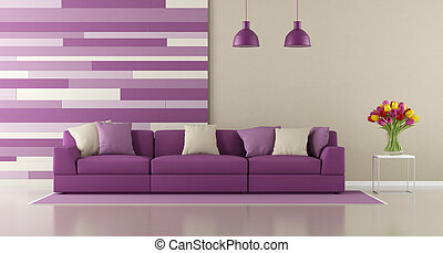 Contemporary purple living room