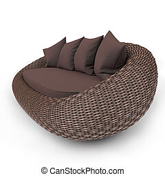 Contemporary rattan sofa - Rattan sofa view from the left ...