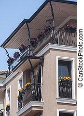 Contemporary residential building closeup