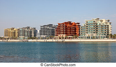 Contemporary residential buildings at the marina of Manama, Bahrain, Middle East