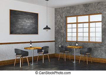 Contemporary restaurant interior side