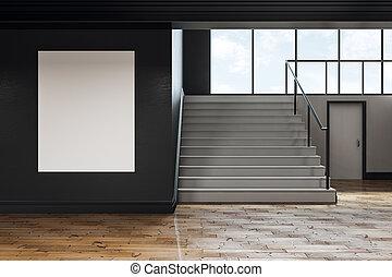 Contemporary school corridor with blank poster
