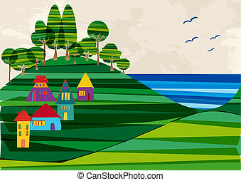 Multicolored transparent banded town near the shore. EPS10 file version. This illustration contains transparencies and is layered for easy manipulation and custom coloring
