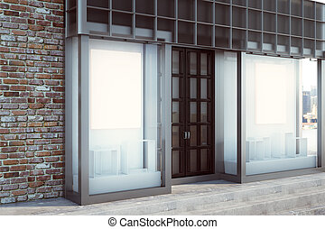 Contemporary shopfront with empty banner