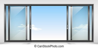 Modern wide sliding door with transparent glass. Vector graphics. The interior of the room.