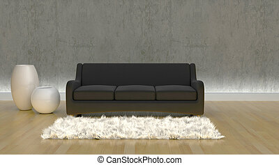 contemporary sofa in moderen setting - 3d render of...