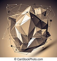 Contemporary technology bronze asymmetric stylish construction, abstract dimensional background with connected lines and dots.