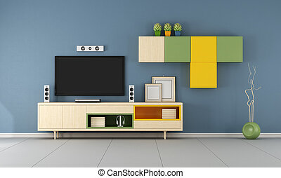 Contemporary  TV wall unit  in ablue room