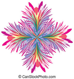 Isolated blossom in art deco style for decoration in brilliant and vivid colors