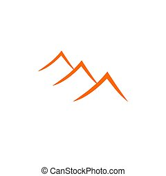 Contemporary vintage Mountains, orange on white