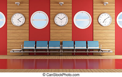 Contemporary waiting room with blue chair and red wall -...