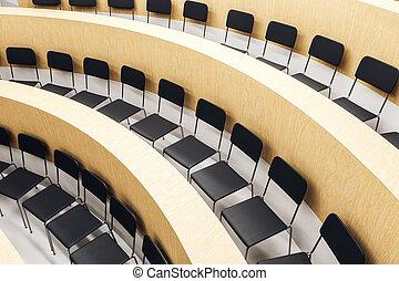 Contemporary wooden auditorium interior