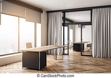 Contemporary wooden office interior