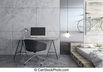 Contemporary workplace in bedroom