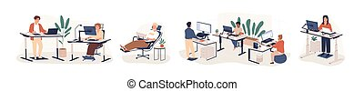 Contemporary workspace flat vector illustrations set. Working office employees sitting and standing behind ergonomic furniture cartoon characters isolated on white background. Coworking openspace area.