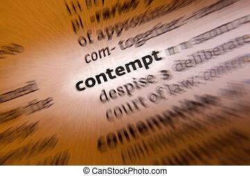 contempt-, dictionnaire, définition