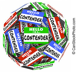 Contender Word Name Badge Tag Sphere Compete Job WIn Game -...